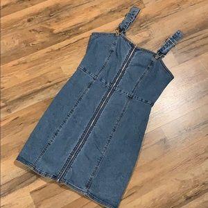NWT Mini Denim Overall Dress
